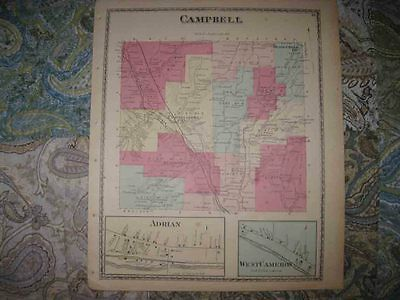 Mint Antique 1873 Campbell Adrian Curtisville Steuben County New Yor Handclr Map