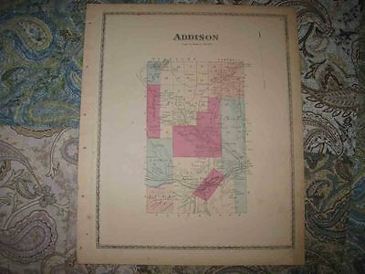Mint Antique 1873 Addison Steuben County New York Handcolored Map Superb Rare Nr