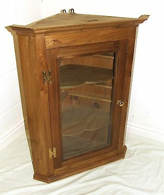 Antique Style SOLID Elm (similar to oak) Glazed Corner Cupboard