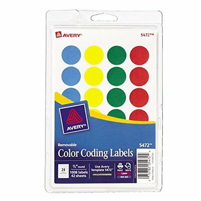 Avery-Removable-Print-or-Write-Color-Coding-Labels-Round-0-75-Inches-Pack-New