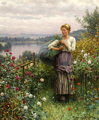 A JULY MORNING GARDEN WOMAN PICKING ROSES FLOWERS PAINTING BY DANIEL RIDGWAY KNIGHT ON CANVAS REPRO