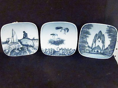 Bing & Grondahl Butter Pats Denmark SET OF 3 DIFFERENT SCENES Square