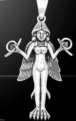 Sumerian Goddess Lilith Lillith White Bronze Silver Luster Pendant #WZPD1118