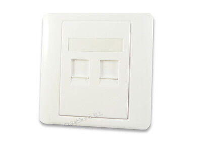 Twin CAT5e Network Cable Wall Plate - Double Ethernet RJ45 White Faceplate