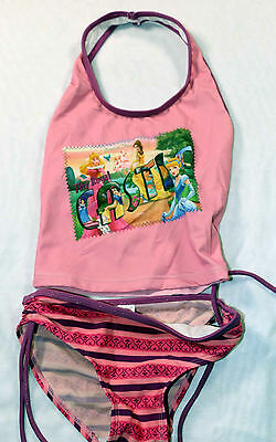 USED Disney Pink Princess Two-Piece Swimsuit Size 5