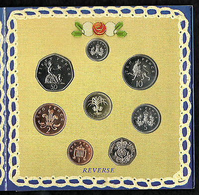 1990 Uncirculated UK Year set BU 8-coin Royal Mint pack