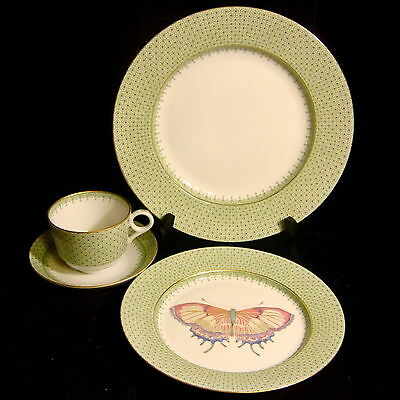 """Mottahedeh China """"Apple Lace"""" - 4 pc -Dinner Plate, Butterfly Salad Plate, Cup,S"""
