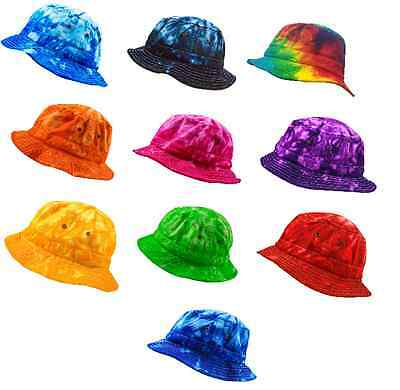 Tie Dye Bucket Hats, 100% Cotton, Multi-colors,  One Adult Size