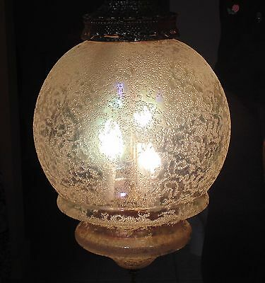 Antique Clear Carnival Glass Globe - Hanging swag Lamp - Wworking