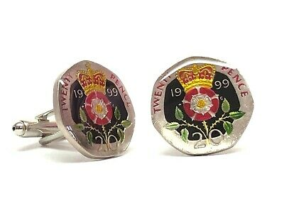 British enamelled coin cufflinks 20 pence Crowned Tudor rose choice of  year