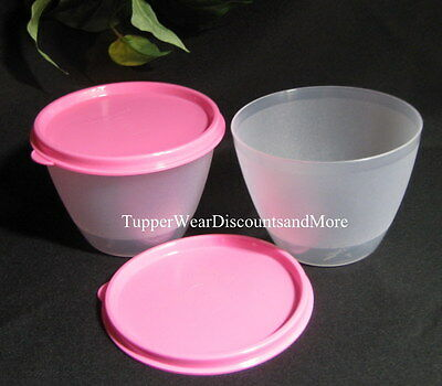 Tupperware New Set of  2 Refrigerator Sheer Bowls Pink Seals RARE