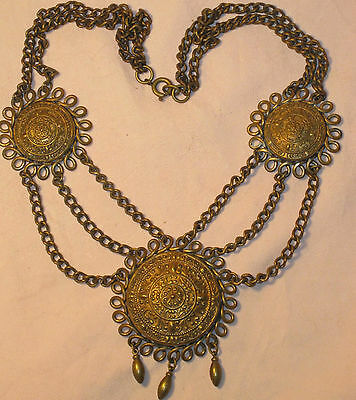 RARE Antique c1900 OTTOMAN INSPIRED SWAG MEDALLION NECKLACE Triple Brass Chains
