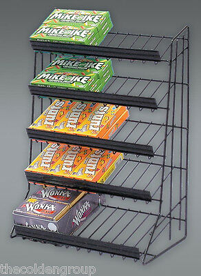 Planet Racks Black 5 Tier Candy Rack Waterfall Merchandiser - Closeout Price