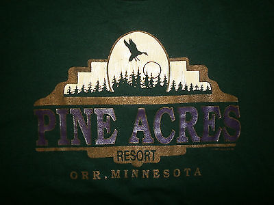 vtg PINE ACRES RESORT T SHIRT Orr Minnesota 80s 90s Pelican Lake Fishing Scenic