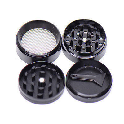 Black 4 Layers Metal Tobacco Crusher Hand Muller Smoke Herbal Herb Grinder New