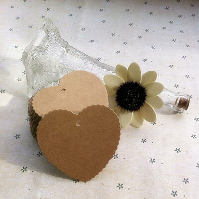 100 Heart Brown Kraft Paper Gift Tags Wedding Label Blank Luggage Tags Strings