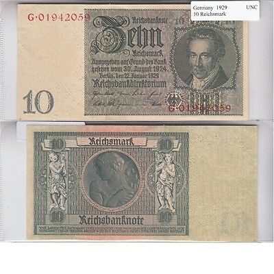1929 10 Reichsmark Banknote from Germany in UNC Condition.