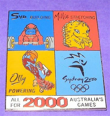 """SYDNEY 2000 SUMMER OLYMPIC GAMES PIN - """"Building, Stretching, Powering"""" Motto"""