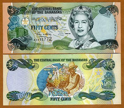 Bahamas, 1/2 dollar (50 cents), 2001, Pick 68, QEII, UNC