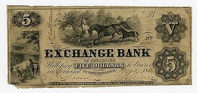 1856 $5 The Exchange Bank of TENNESSEE Note