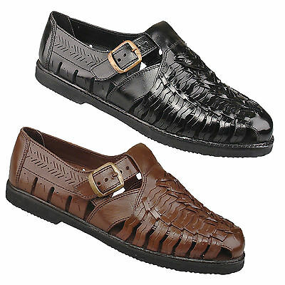 Mens Gents New Black Brown Leather Interlaced Summer Holiday Comfort  Sandals