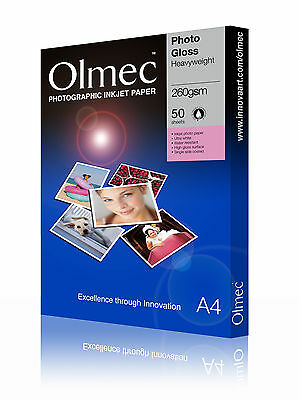2 x Olmec 260gsm Photo Glossy Inkjet Paper A4/50 Sheets OLM60A4 - 100 sheets A4