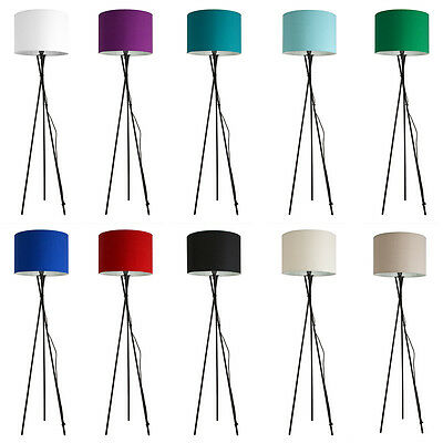 Large Modern Tripod Floor Standard Lamp Lounge Light Fabric Drum Lamp Shades