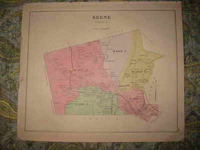 Set Of 3 Antique 1892 Keene Cheshire County New Hampshire Handcolored Map Rare N