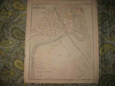 Antique 1892 Dover New Hampshire Handcolored Map W Industry Land Owners Mills Nr