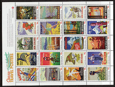 New Zealand 2013 Classic Travel Posters Sheet Of 20 Unmounted Mint, Mnh