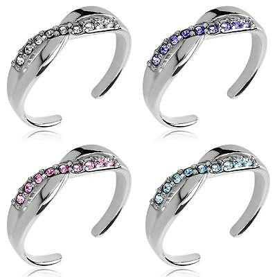 Sterling Silver Toe Ring Adjustable Size Cubic Zirconia Gemstones