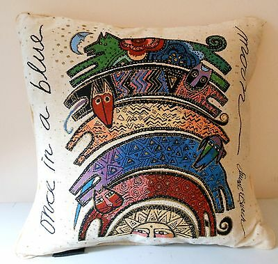 Laurel Burch Once in Blue Moon Cats Dogs Tapestry Throw Pillow RETIRED