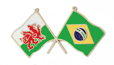 Brazil Flag & Wales Flag Friendship Courtesy Pin Badge - T638