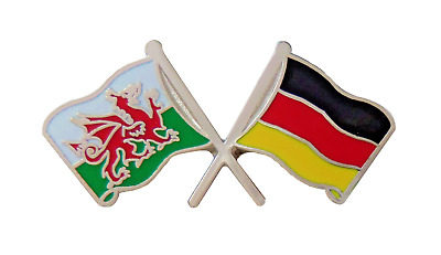 Germany Flag & Wales Flag Friendship Courtesy Pin Badge - T168