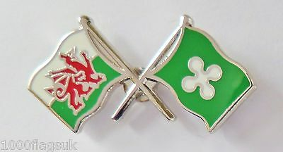 Italy Lombardy Flag & Wales Flag Friendship Courtesy Pin Badge - T790