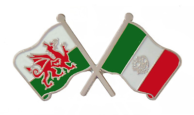 Mexico Flag & Wales Flag Friendship Courtesy Pin Badge - T784