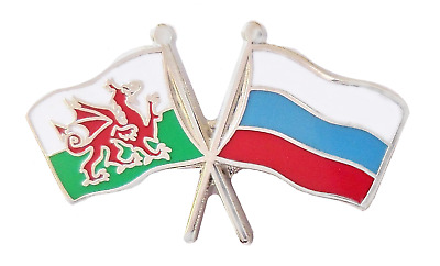 Russian Federation Russia Flag & Wales Flag Friendship Courtesy Pin Badge T381A