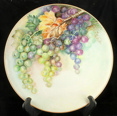 """Antique Heinrich & Co Hp Wall Plate Fruit Grapes Autumn Bavaria Germany 10"""""""