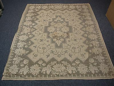 """ANTIQUE LACE TABLECLOTH with FLOWERS 54"""" X 74"""""""