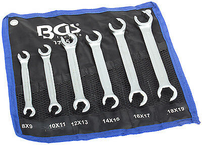 Ring spanner Set open 6 pieces 8-19 mm opener Brake line wrench Tool