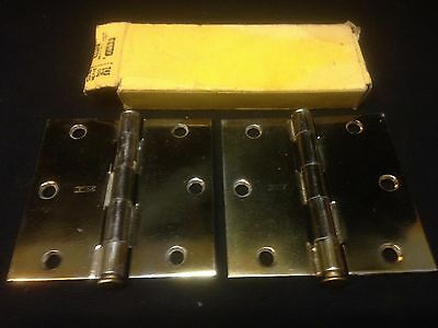 Pair Of Vintage Stanley Brass Plated Nos 3 1/2 Inch X 3 1/2 Inch Door Hinges  2 • CAD $11.38