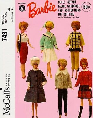 "McCalls 7431 11.5"" Vintage Retro Fashion Doll Clothes Pattern Instant Wardrobe"