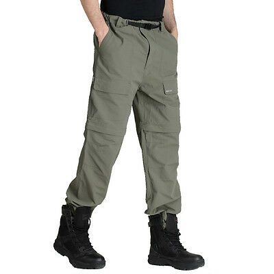 Mens Fishing Hunting Hiking Relaxed Cargo Pants Quick Dry Casual Trousers Shorts