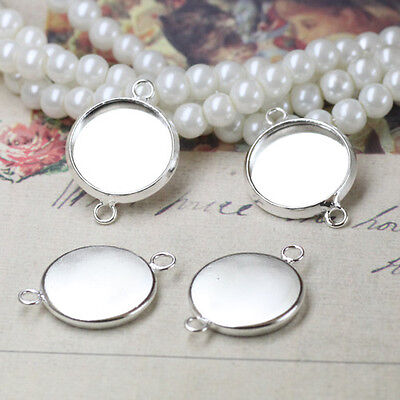20PCS Bright silver 12mm Round Cabochon Settings Link Connectors #23136