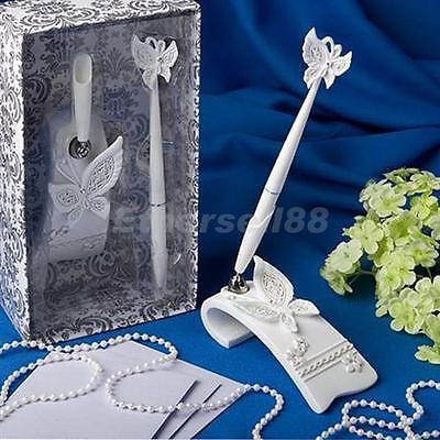 Sparkly Diamante Butterfly Pen Stand Set Wedding Party Registry Guest Book