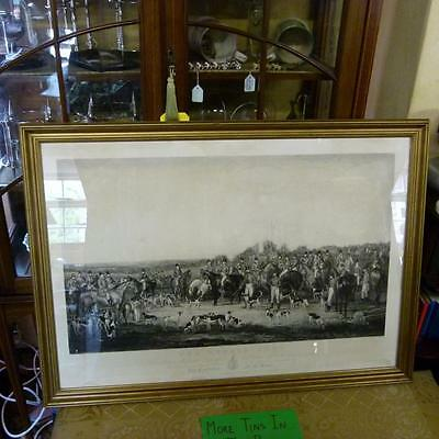 Antique 1842 BEDALE HUNT Mark Millbank Esq Thorpe Perrow Engraving Fox Hounds