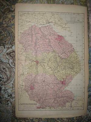 Large Superb Antique 1850 Lincolnshire Lincoln Boston Grantham England Hdclr Map