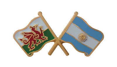 Argentina Flag & Wales Flag Friendship Courtesy Pin Badge - T622