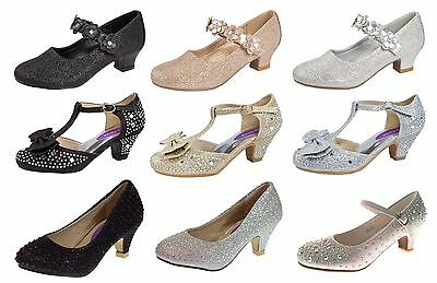 Kids Girls Mary Jane Party Shoes Diamante Glitter Bridesmaids Wedding Heels Size