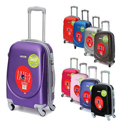 "Hand Luggage Hard Shell Abs 20"" Carry On Trolley Cabin Airline Approved Suitcase"